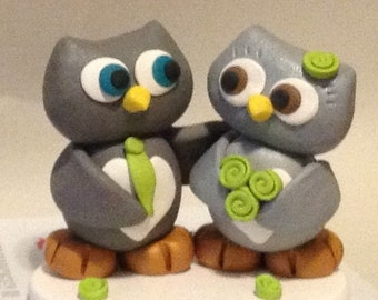 wedding cake topper owls bride and groom