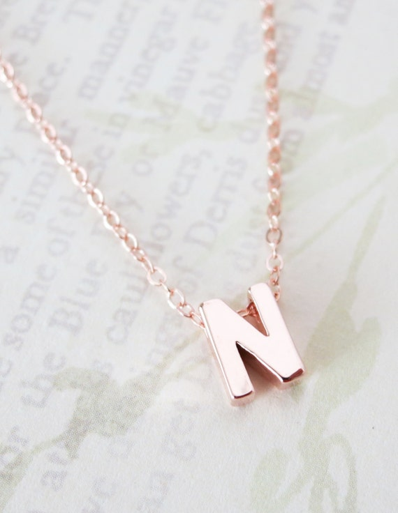 Personalized Rose Gold Letter Necklace - Rose Gold Filled Chain, monogram, friendship, personalized initial necklace, bff gift, bridesmaids