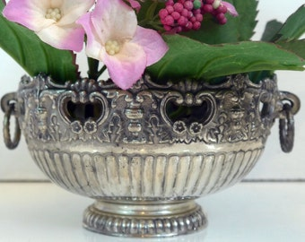 F B Rogers Silverplate Bowl - Vintage Greek Revival Style Silver Plate Bowl - Shabby Chic Home Decor