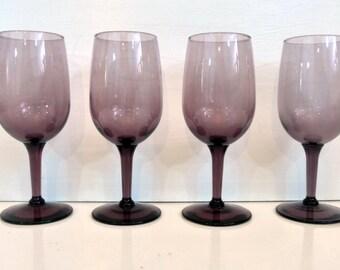 Vintage Purple Wine Glasses - Retro Set of 5 Stemmed Purple Wine Glasses or Goblets Libbey 1980s
