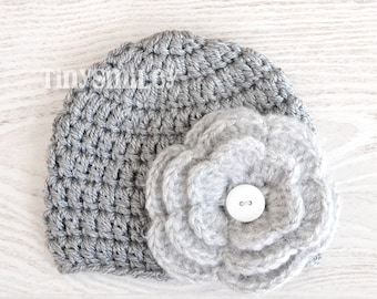 Silver Gray Baby Girl Hat,  Gray Flower Baby Girl Beanie, Crochet Baby Girl Beanie, Size: 0 - 3 Mo READY to ship