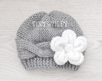 Knit Baby Girl Hat, Cable Knit Baby Hat, Removable Flower, Gray Knit Baby Girl Hat, Gray Knit Cable Baby Beanie, Newborn Cable Hat, Hats