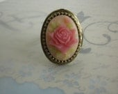 Renaissance Pink Rose Cameo Lucinda French Poison Locket Ring in Bronze, Secret Compartment Ring