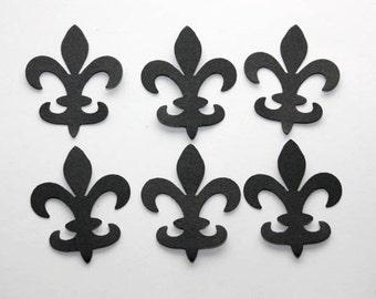 100 Black Fleur De Lis Confetti, Fleur De Lis Die Cut, Mardi Gras Confetti, Wedding, French, Shower, Fleur de Lis Decor