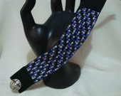 Coordinated Black, Gray, Lavender and Opalescent Colors, Loom Beaded Cuff Bracelet Beadwork Handmade