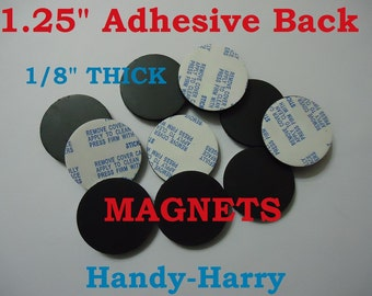 """12) pcs / 1.25"""" Round Magnets 1  1/4"""" Adhesive Magnet 1/8"""" Thick Doublesided Tape Circles on back DIY Craft Buttons Cabochons Magnets"""