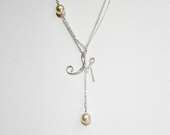 Letter Necklace Lariat Necklace Personalized Pearl Necklace Double Pearl Necklace Letter Jewelry Personalized Jewelry Pearl Lariat Silver
