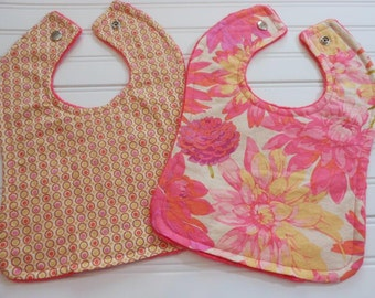 Baby bib set of 2-polka dot and floral design with pink and yellow