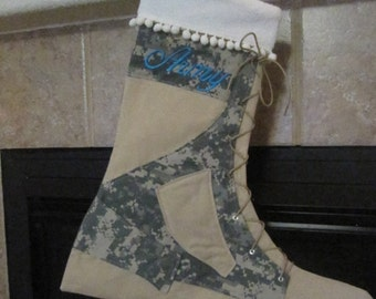"Ready to Ship ~ Military Army ACU Christmas Stocking ~ Boy Embroidered ""Army"""
