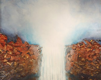 White Waterfall - Abstract Limited Edition Painting on Canvas