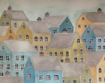 Stacked Village Houses, watercolor and gouache, lime, mustard, blue, print of original painting