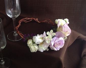 Lavender and Ivory Bridal Vine Crown