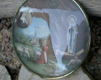 French  reliquary  antique ornate frame bombe glass our lady Notre dame de Lourdes  antique praying bronze tone metal frame ornate sheep