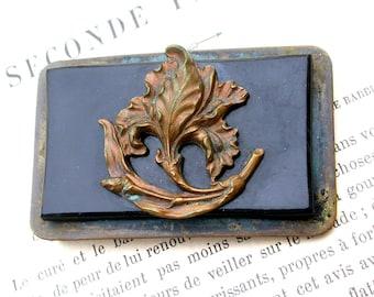 French antique art nouveau 1900S solid Bronze  Belt Buckle  old buckle large leaf ornate flower bronze buckle button