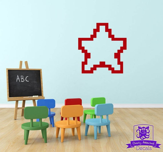 Items similar to 8 bit star wall decal decor on etsy for 8 bit decoration
