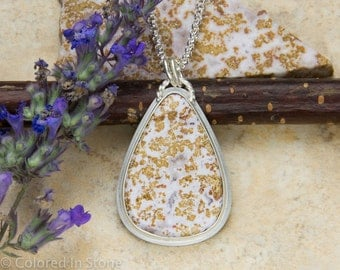 Calico Lace Agate Necklace, Sterling Silver