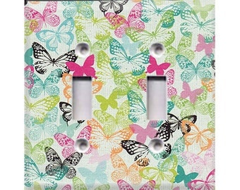 Butterflies Double Light Switch Cover