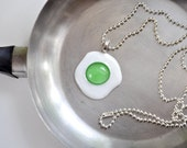 Dr. Seuss Inspired Green Eggs Necklace. FUSED GLASS. 20% Donated to The Hunger Project