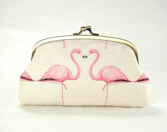 Double coin purse / Pink Flamingos / two compartments purse/ peach pink/ dusty pink/ bridesmaids clutch/christmas gift