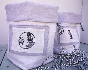 Textile Basket Letterpress Linen
