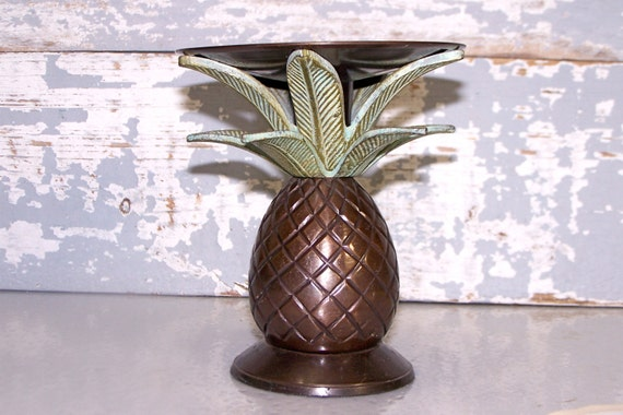 Metal Pineapple Candle Holder Vintage Home Decor Painted Large