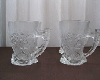 Set of Four Vintage 1990's Flintstones Movie McDonald's Glass Mammoth Mugs