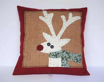 Reindeer Christmas Pillow cover, holiday pillow, decorative pillow, cushion, Christmas decoration