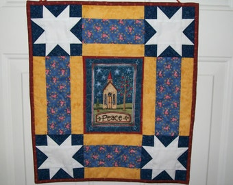 Patriotic wall hanging - Peace door hanger - Country church summer wall quilt - red white blue gold - 4th of July - Memorial Day