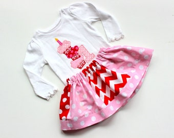 girls First  Birthday outfit  Cupcake birthday outfit pink red skirt set chevron polka dot clothing outfits toddler birthday number 1