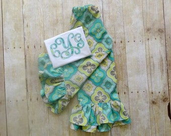 girls monogrammed clothing fall ruffle pants set girls aqua yellow gray fall double ruffle pants set birthday monogrammed shirt fall outfit