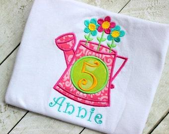 flower pot birthday shirt girls first birthday shirt  toddler birthday hot pink lime green aqua polka dot  birthday clothing girl applique