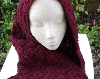 Hand knit scarf in burgundy basket weave pattern-READY TO SHIP