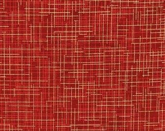 Quilter's Linen Metallic in Crimson Red by Kaufman Fabrics - 1 yard