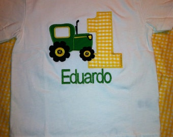 Tractor Birthday Applique Shirt