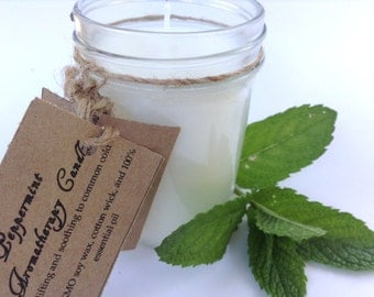 Peppermint Soy Candle, Organic Candles, Aromatherapy Candles