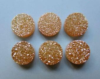 Polished Natural Quartz Orange Color Titanium Round Druzy Cabochon 10mm