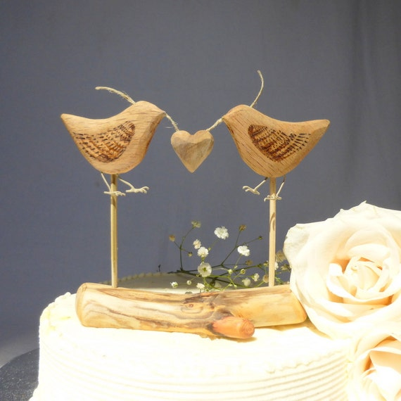 Natural Wood Wedding Cake Topper Love Birds By