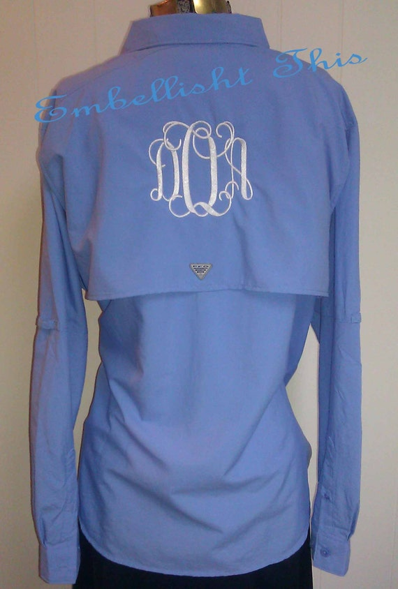 Monogrammed preppy columbia pfg fishing shirt by for Monogram fishing shirt