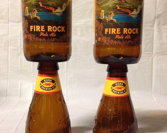 Kona Beer Bottle Wine Glasses. Fire Rock. Hawaiian Beer Bottle Glasses.