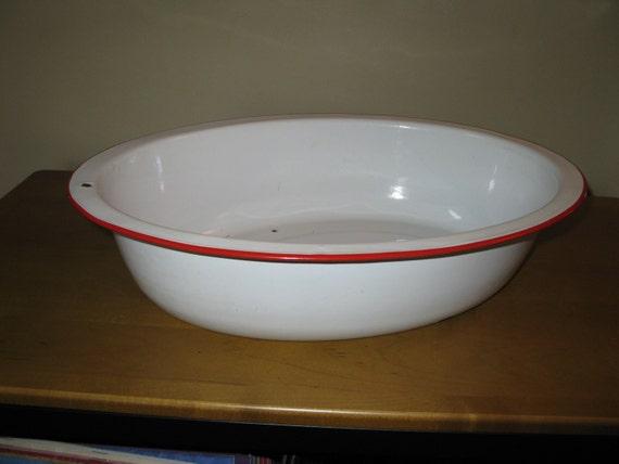 Vintage 40s Enamelware Baby Bath Tub 18 X 14 Oval