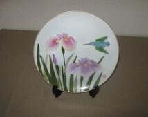 Japanese Fukagawa Porcelain Plate with Hummingbird and Iris