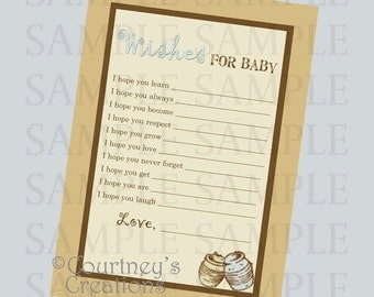 Classic Winnie the Pooh inspired wish card - Instant Download