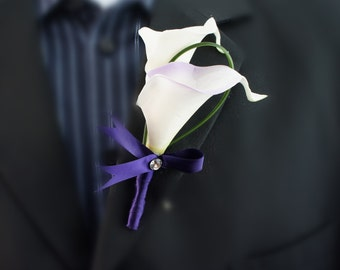 Real touch Calla lily,Plum ribbon-Wedding,Prom
