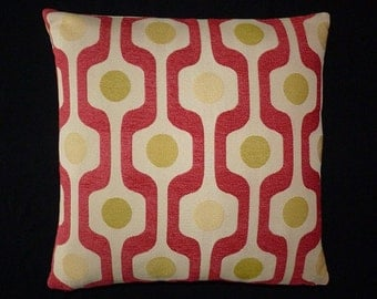 "Bold Retro Mid Century Modern style - RED Accent throw Pillow -  17"" x 17"" feather/down"