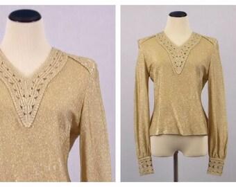 Gold Lamé Blouse - Size Medium Gold Knit Top - Vintage 1970s Metallic Disco Shirt