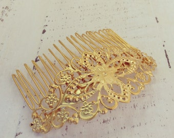 24K Gold-Plated Filigree Hair Comb, Floral Hair Comb, Gold Hair Comb, Bridal Hair Comb