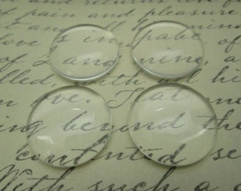 24mm Glass Cabochon, 10 Pcs Clear Dome Cabochon,  ~1 inch Cameo Covers, Flat back Cabochon