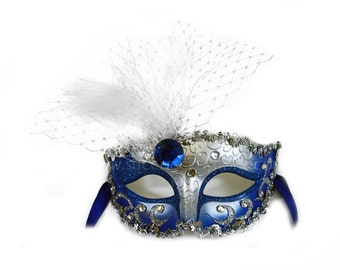 Elizabeth Decorated Blue and Silver Masquerade Ball Mask - A-2201BES-R
