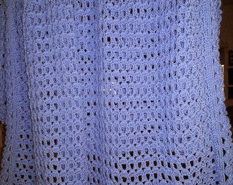 "Blue Keepsake - Hand Crocheted Afghan  40""x66"""