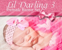 "Premade Shop Banner Set - Premade Etsy Banner Set - Etsy Shop Banner - Avatar - Facebook - ""Lil Darling 3"" Banner Set"